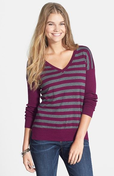 v-neck sweater, striped sweater, gift under $25, holiday gift idea