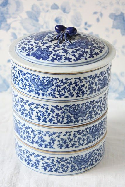 Cherry On A Cake Blue And White China Decor