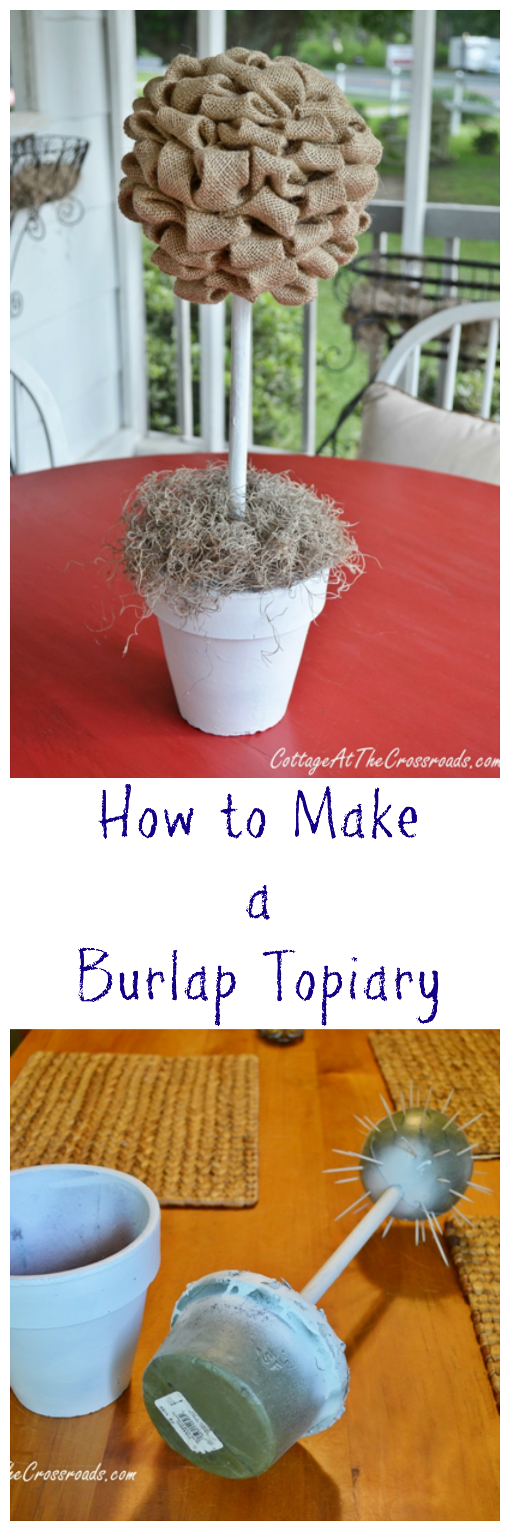 An easy-to-make burlap topiary - Could be modified with Red/Green colors for Christmas decor...