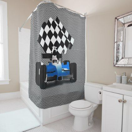 Blue Race Car With Checkered Flag Shower Curtain