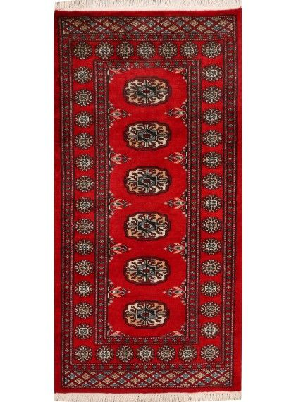 "Deep Red Oriental Bokhara Rug 2' 1"" x 4' 1"" (ft) - No. 26656"