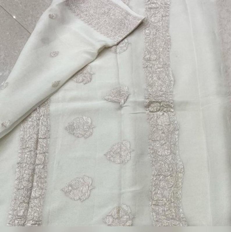 Khadi Chiffon Durga Puja Zari Work Pure Georgette Banarasi Silk Handwoven Saree Designer Weaving Fabric Sari Women With Running Blouse Pece
