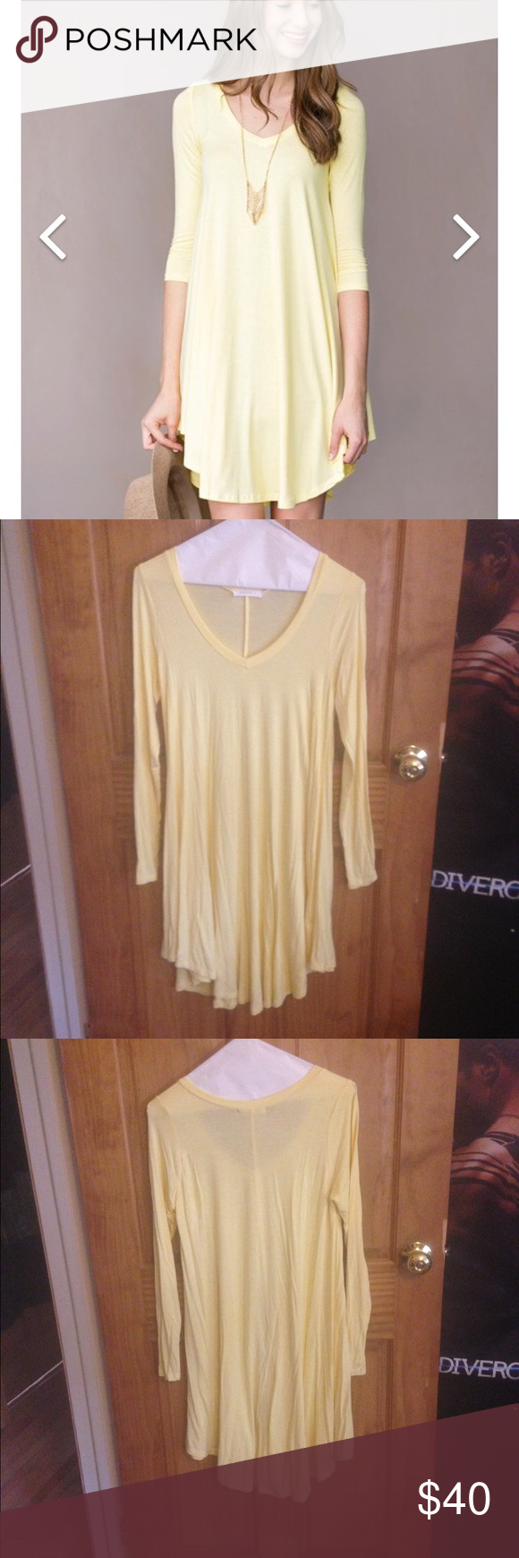 Yellow dress long sleeve  New listing NWOT yellow vneck dress  Casual Yellow dress and