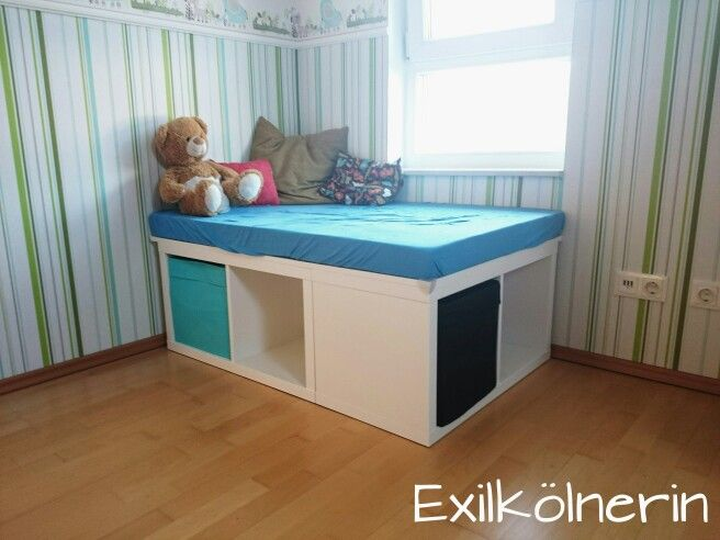 aus 2x kallax wird ein podest podium plattform ikea hack pinterest kinderzimmer keller. Black Bedroom Furniture Sets. Home Design Ideas