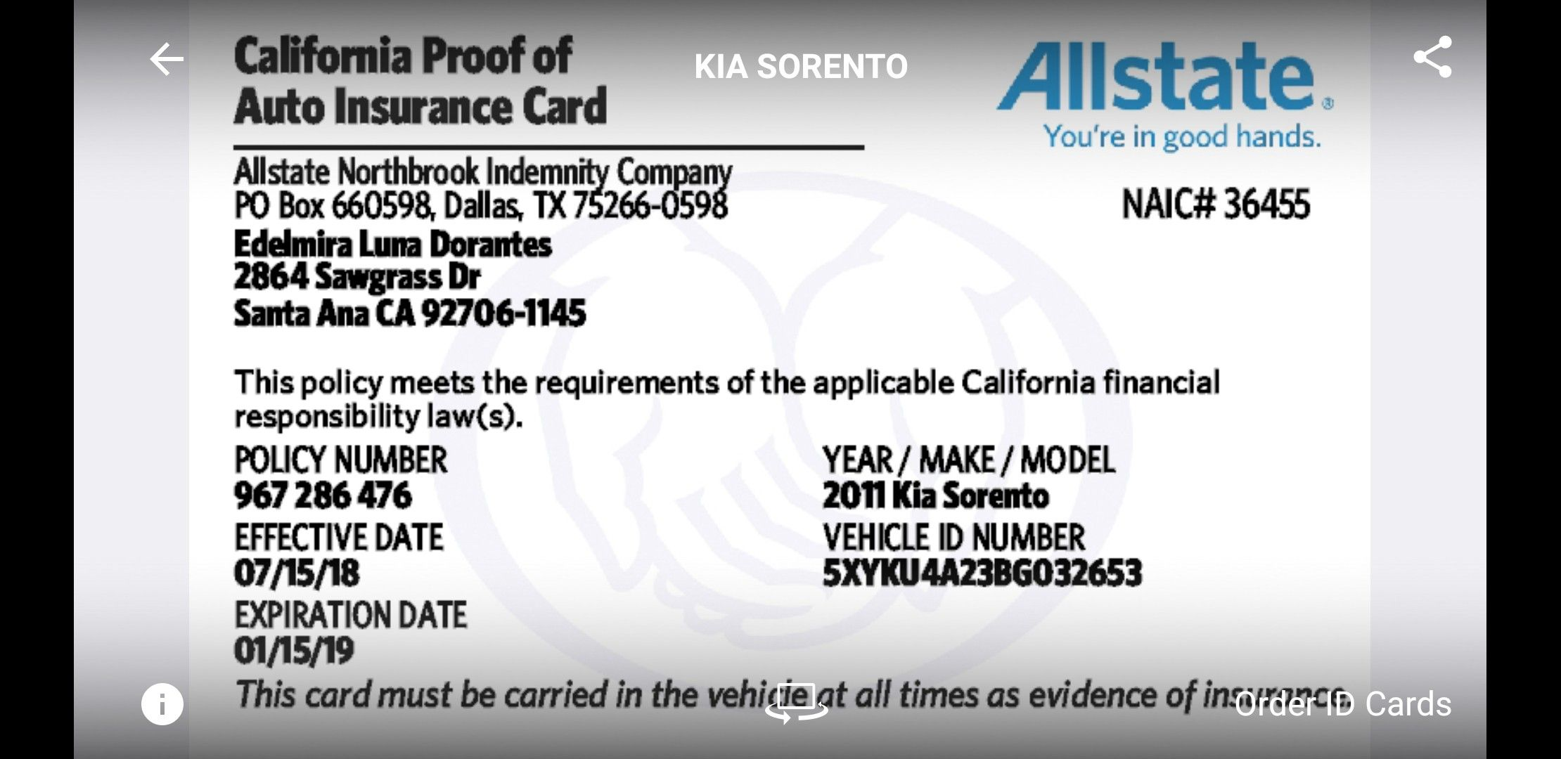 Car Insurance Card Car Insurance Kia Sorento Insurance