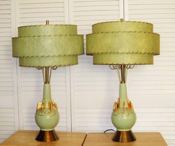A Pair Of Mid Century Original C. MILLER 1955 Meteor Lamps   Hollywood  Regency