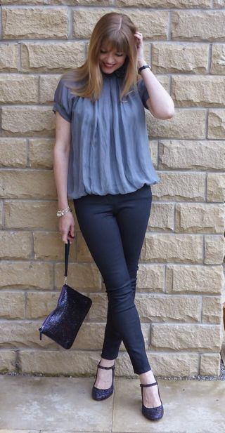 Outfit: Grey Roses Top, Coated Jeans and Glitter Shoes