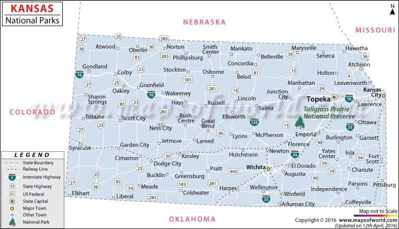 National Parks In Kansas USA Map Travel Destinations - Kansas on map of usa