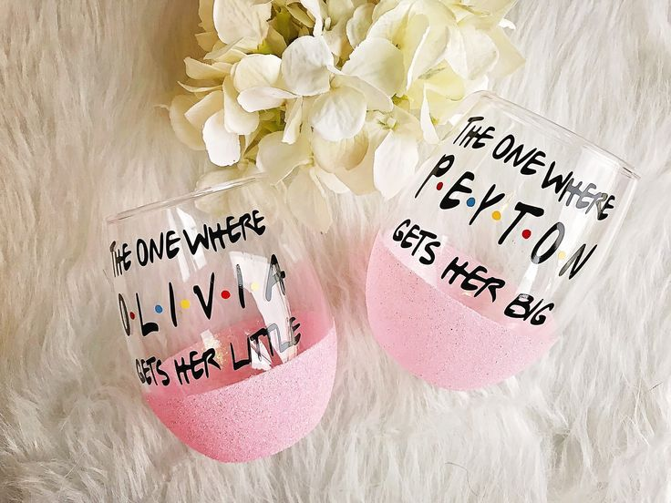 The One Where Big/Little Reveal Glitter Dipped Stemless Wine Glasses//Big Little Wine Glass//Sorority Gift//Sorority Wine Glass//Reveal Gift #biglittlereveal