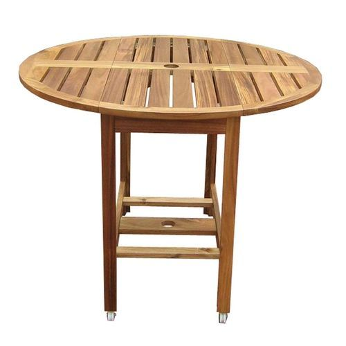 ***FREE SHIPPING*** This Folding Round Outdoor Patio Dining Table With  Umbrella Hole, Drop Leaf Sides, And Wheels Will Look Great In Your Yard,  Garu2026
