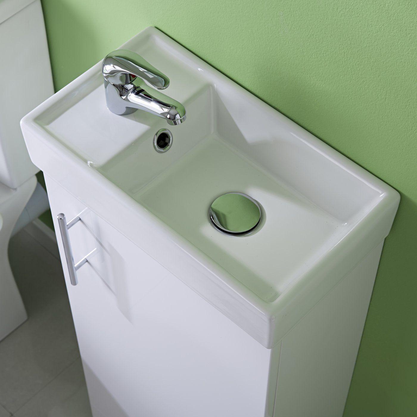 White Floor Standing Vanity Unit 400mm With Basin Bathroom Cloakroom Storage Furniture Amazon Co