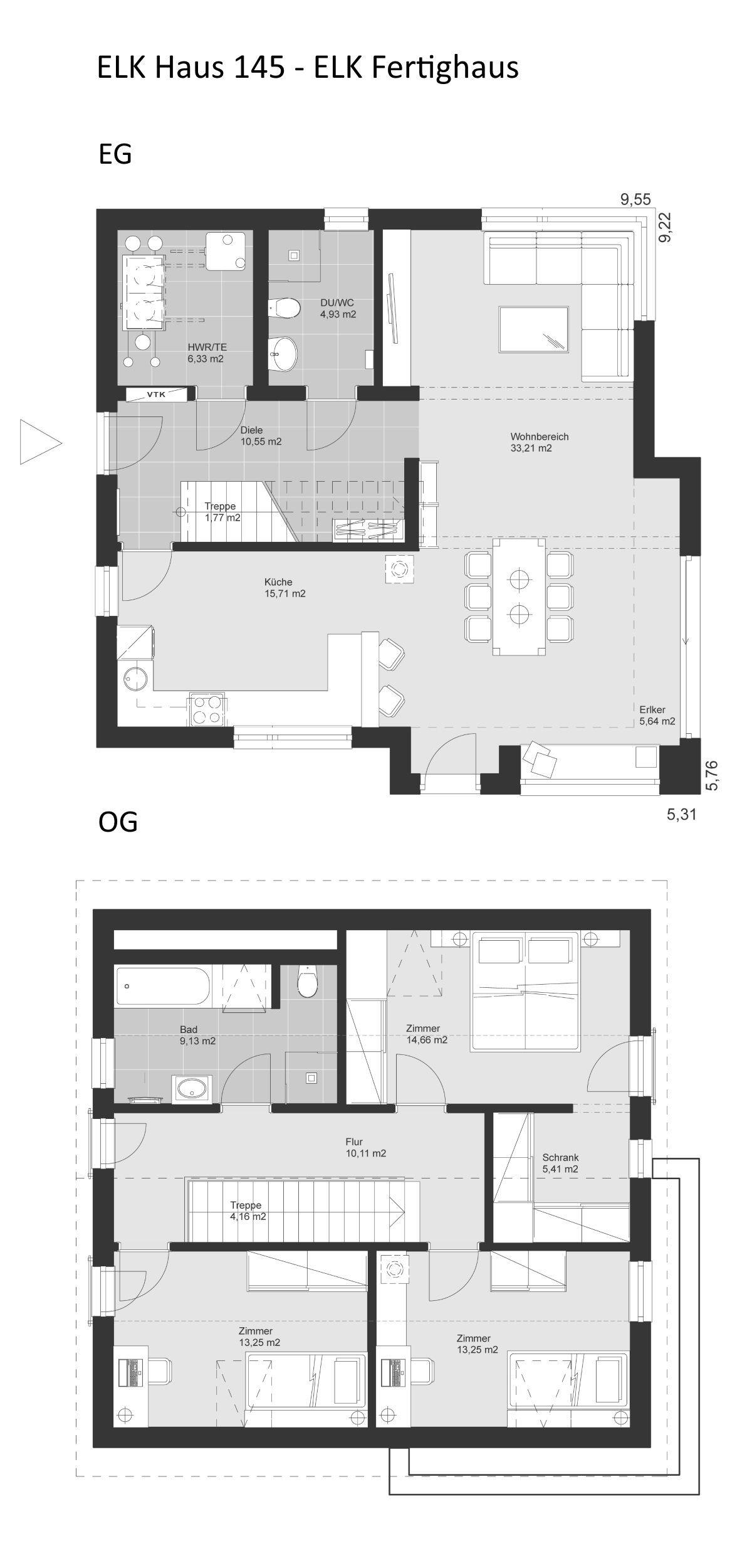 Grundriss Einfamilienhaus mit Satteldach Architektur 4