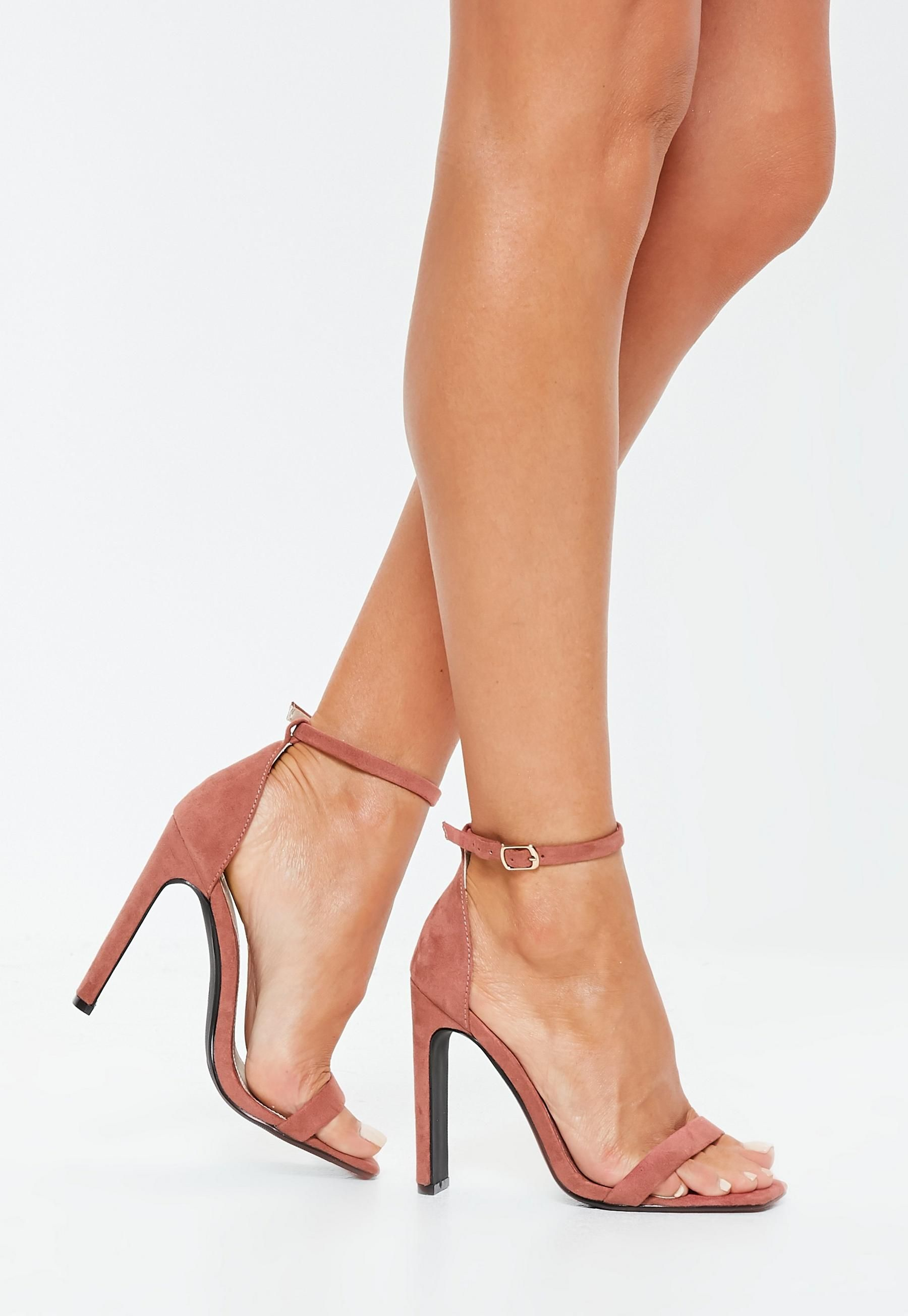 66591c96a301 Missguided Terracotta Pink Square Toe Barely There Heels in 2019 ...