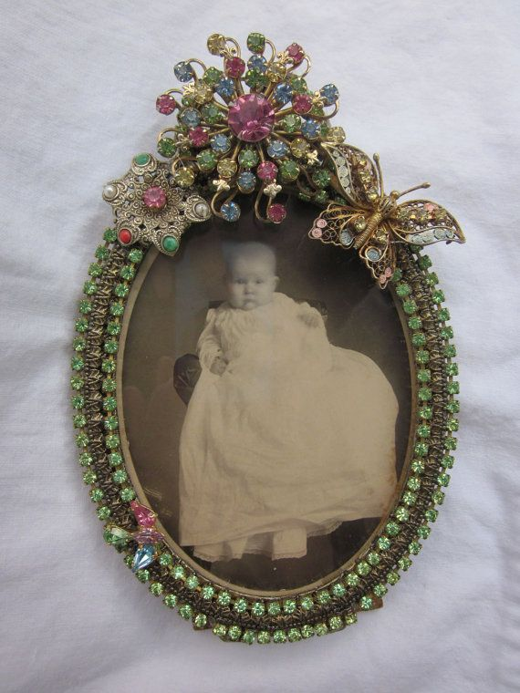 Vintage Rhinestone Jewelry Picture Frame with Antique Photo