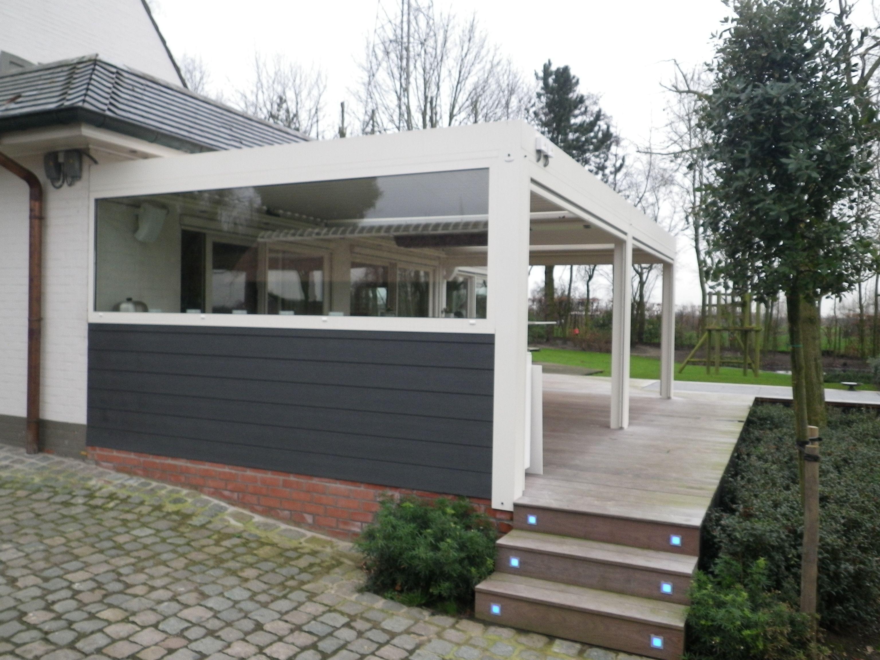 biossun benelux project terrasoverkapping pergola couverture de terrasse met avec doorzichtige. Black Bedroom Furniture Sets. Home Design Ideas