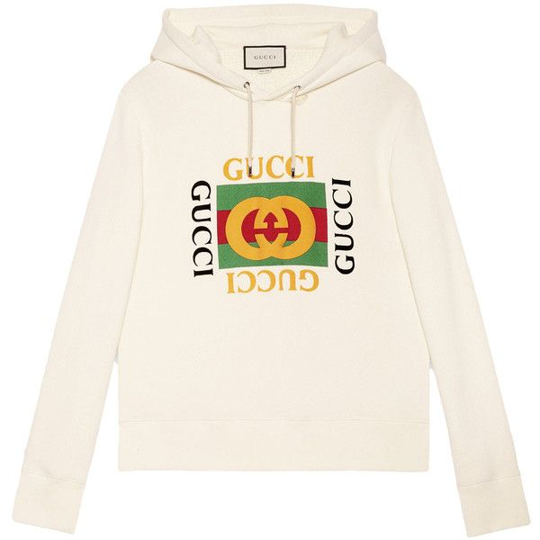 60910abfbb42 Gucci Cotton Sweatshirt With Gucci Print ($1,180) ❤ liked on Polyvore  featuring men's fashion, men's clothing, men's hoodies, men's sweatshirts,  ...