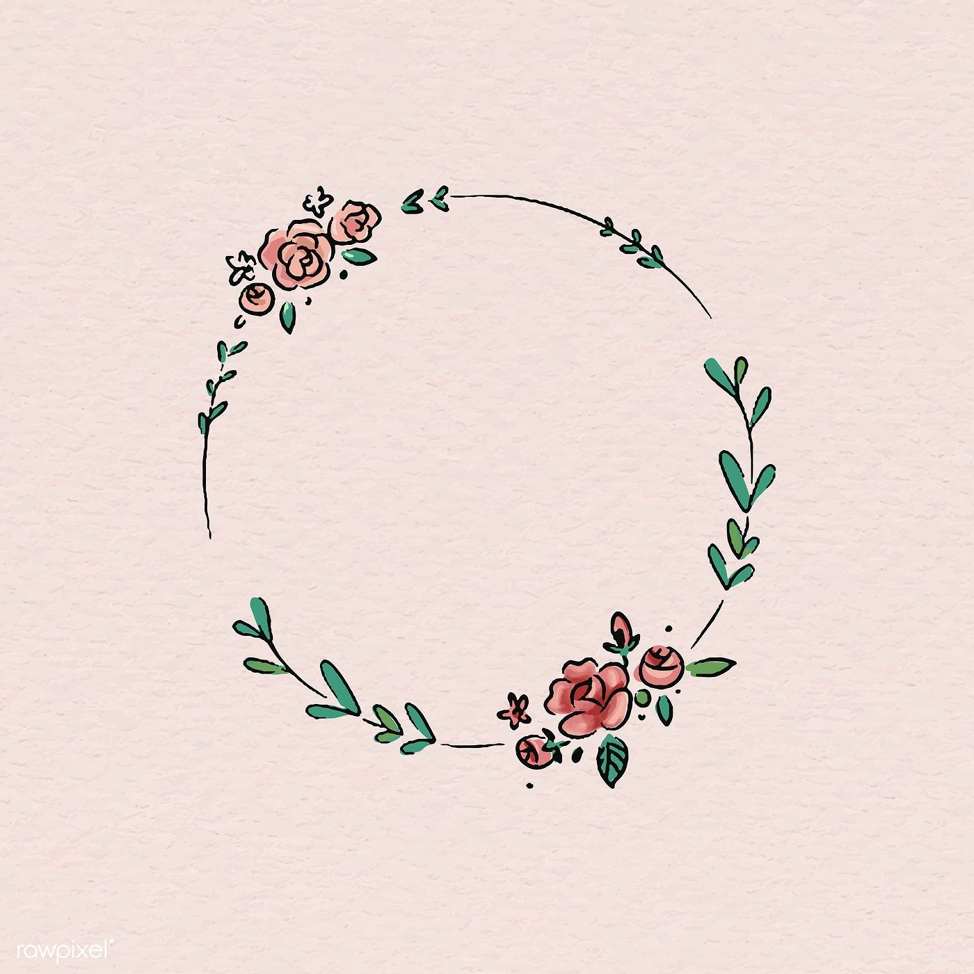 Download Premium Psd Of Valentines Day Message Drawn In A Notebook 843813 In 2020 Frame Wreath Wreath Drawing Floral Doodle