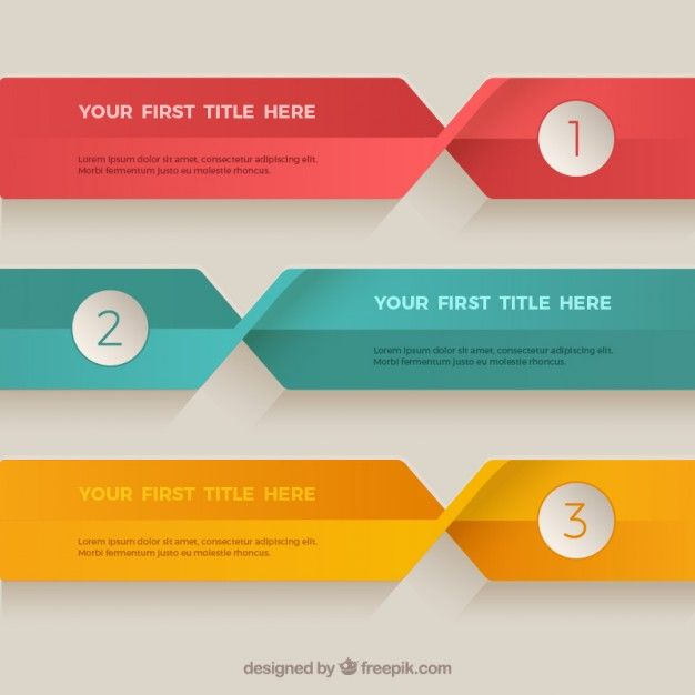 flat colored banners template premium vector chart pinterest