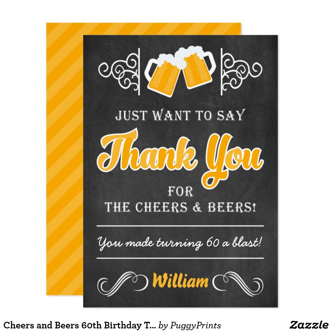 Cheers And Beers 60th Birthday Thank You Card Zazzle Com Birthday Thank You Cards Birthday Thank You Thank You Cards