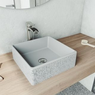 Photo of Aster Square Concrete Vessel Bathroom Sink Set in Ash with Faucet in Brushed Nickel