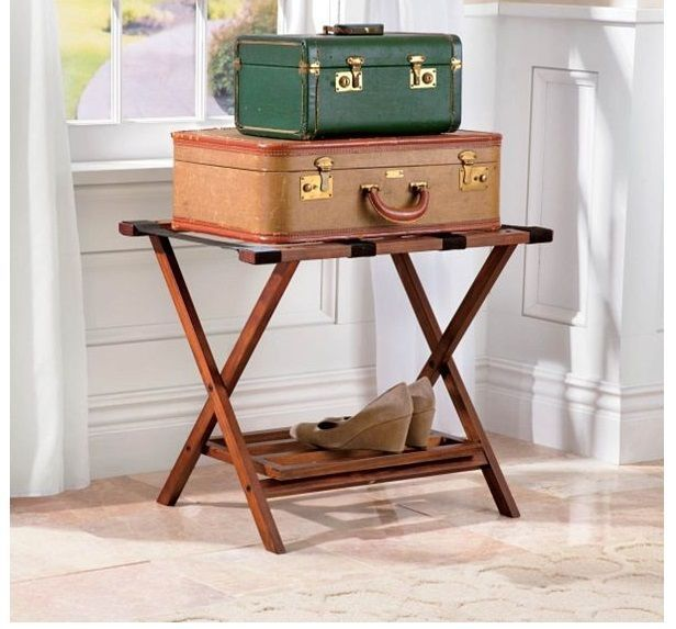 Folding Luggage Rack Stand Wood Suitcase Hotel Travel Storage Shoe