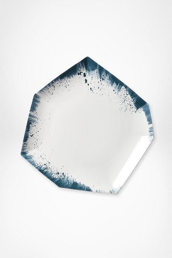 Dvf Brushstroke Dinner Plate Gold Dinnerware Ceramic Tableware