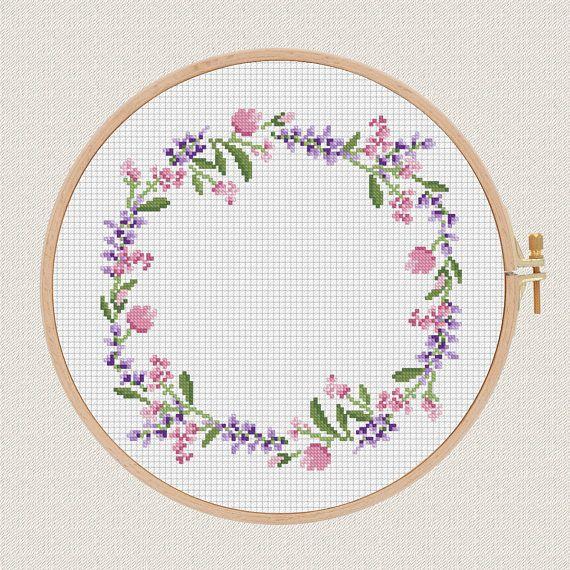 Flowers Cross Stitch Pattern Lavender Helleborus Floral Wreath Cool Cross Stitch Flower Patterns
