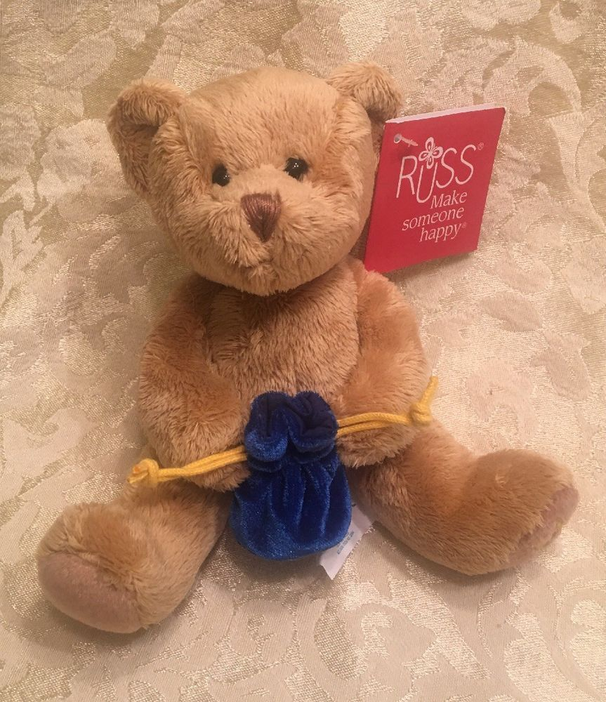 Teddy bear toys images  ud Russ TEDDY BEAR Plush Blue Bag Gold Star Of David New RARE Ring