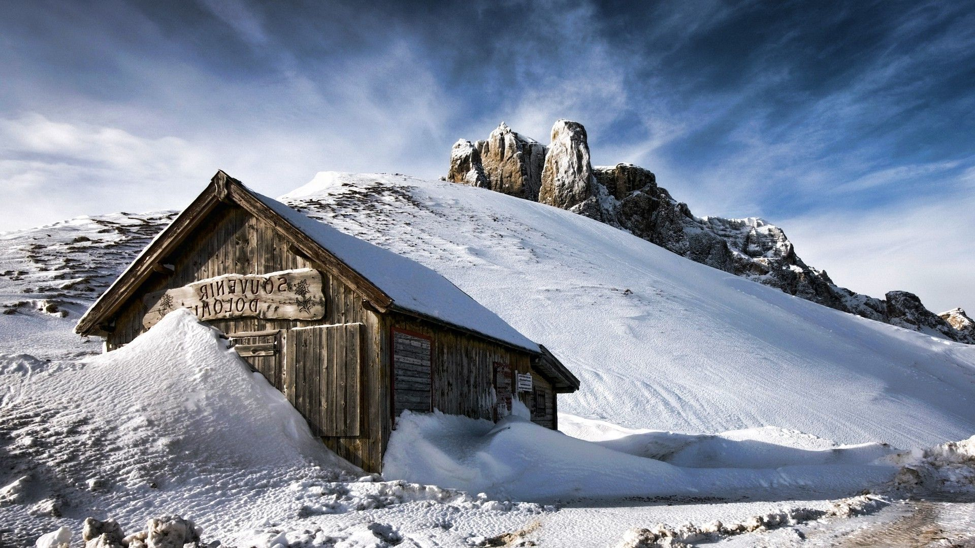 Nature Landscape Winter Snow Wood House Mountain Hill Clouds Dolomites Mountains Snowy Peak Ro Free Desktop Wallpaper House In The Woods Wallpaper