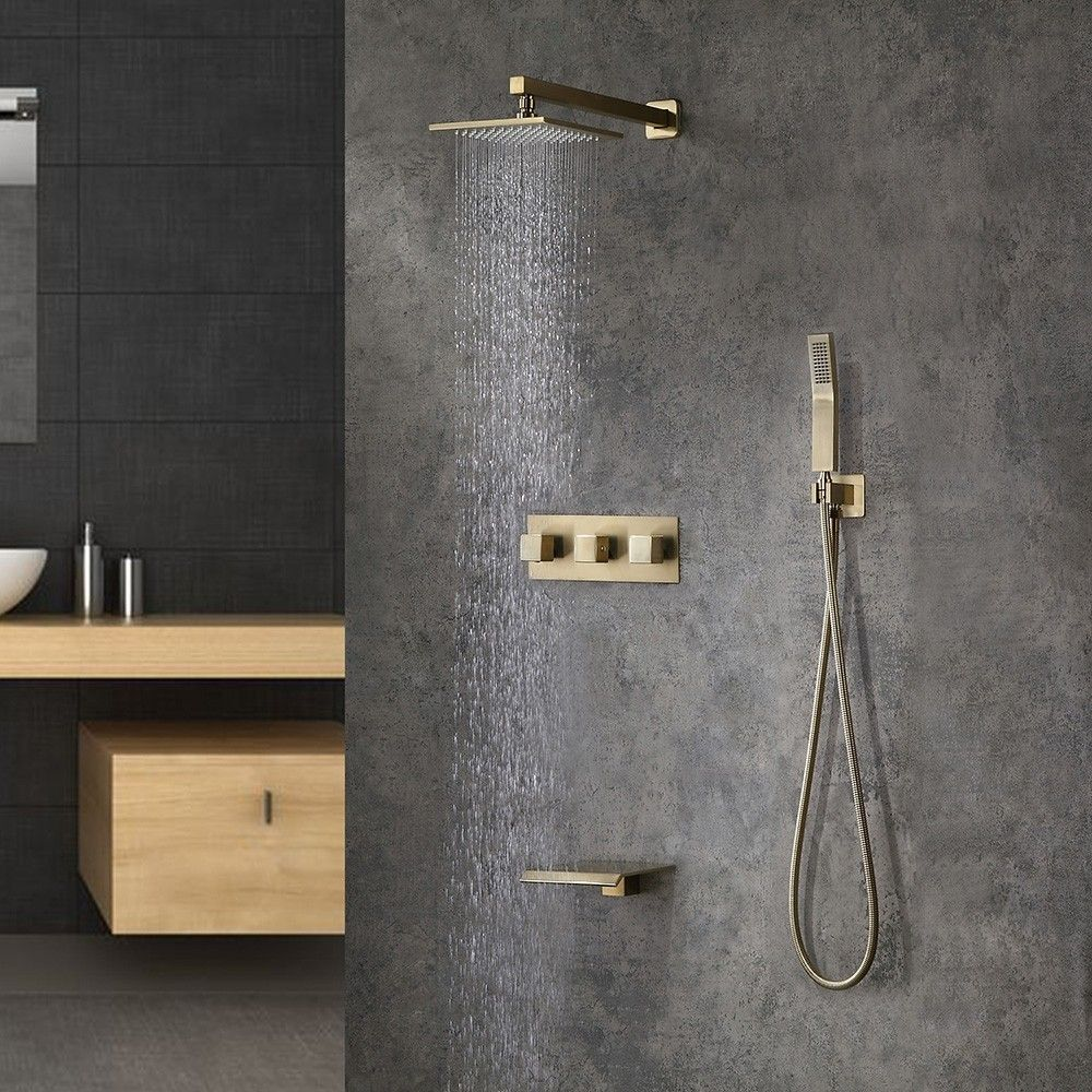 Contemporary Wall Mounted Square Rain Shower System With Hand