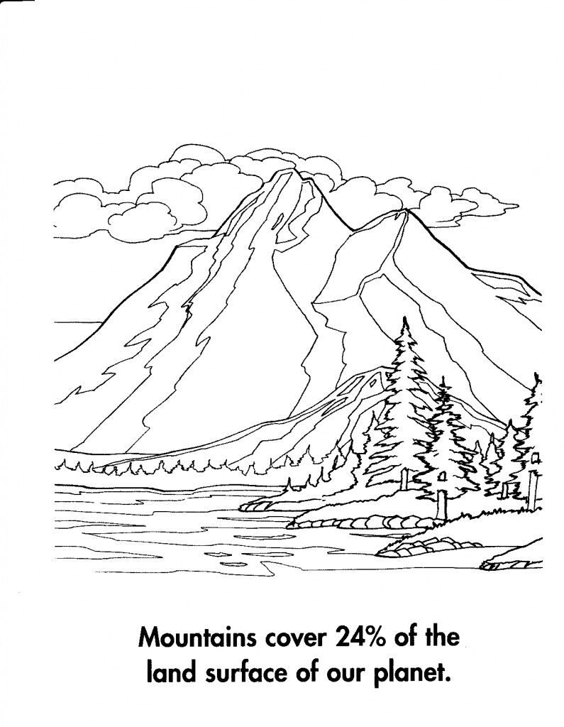 coloring pages printable mountains and trees # 14