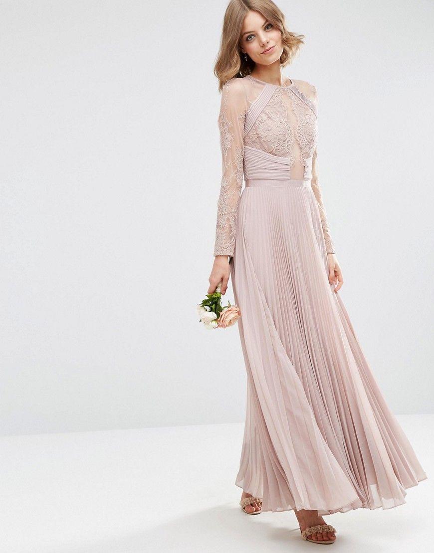 Image 1 of ASOS WEDDING Pretty Lace Eyelash Pleated Maxi Dress ...
