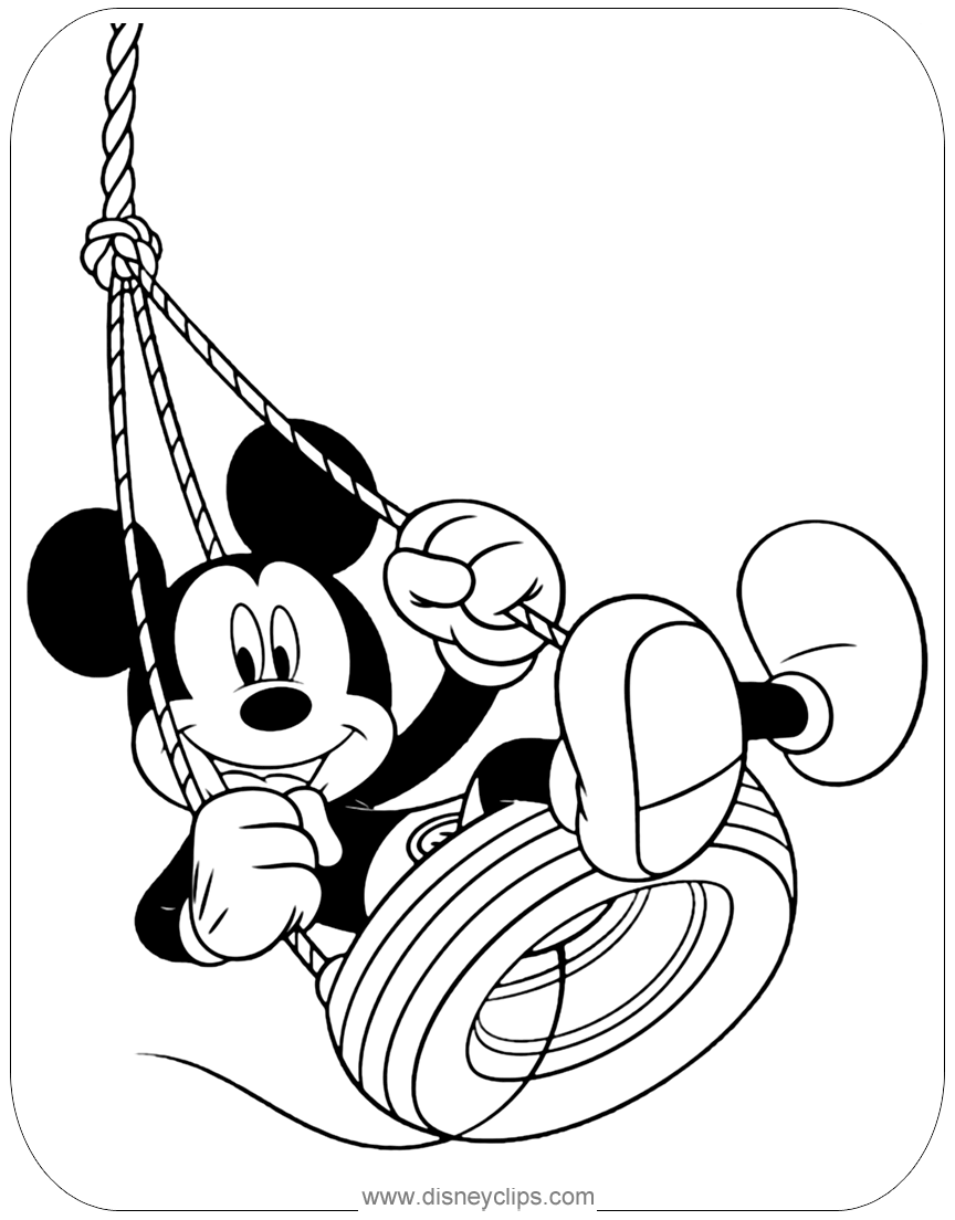 Mickey In A Tire Swing Coloring Page Mickeymouse Coloriage Rosace Coloriage Carterie