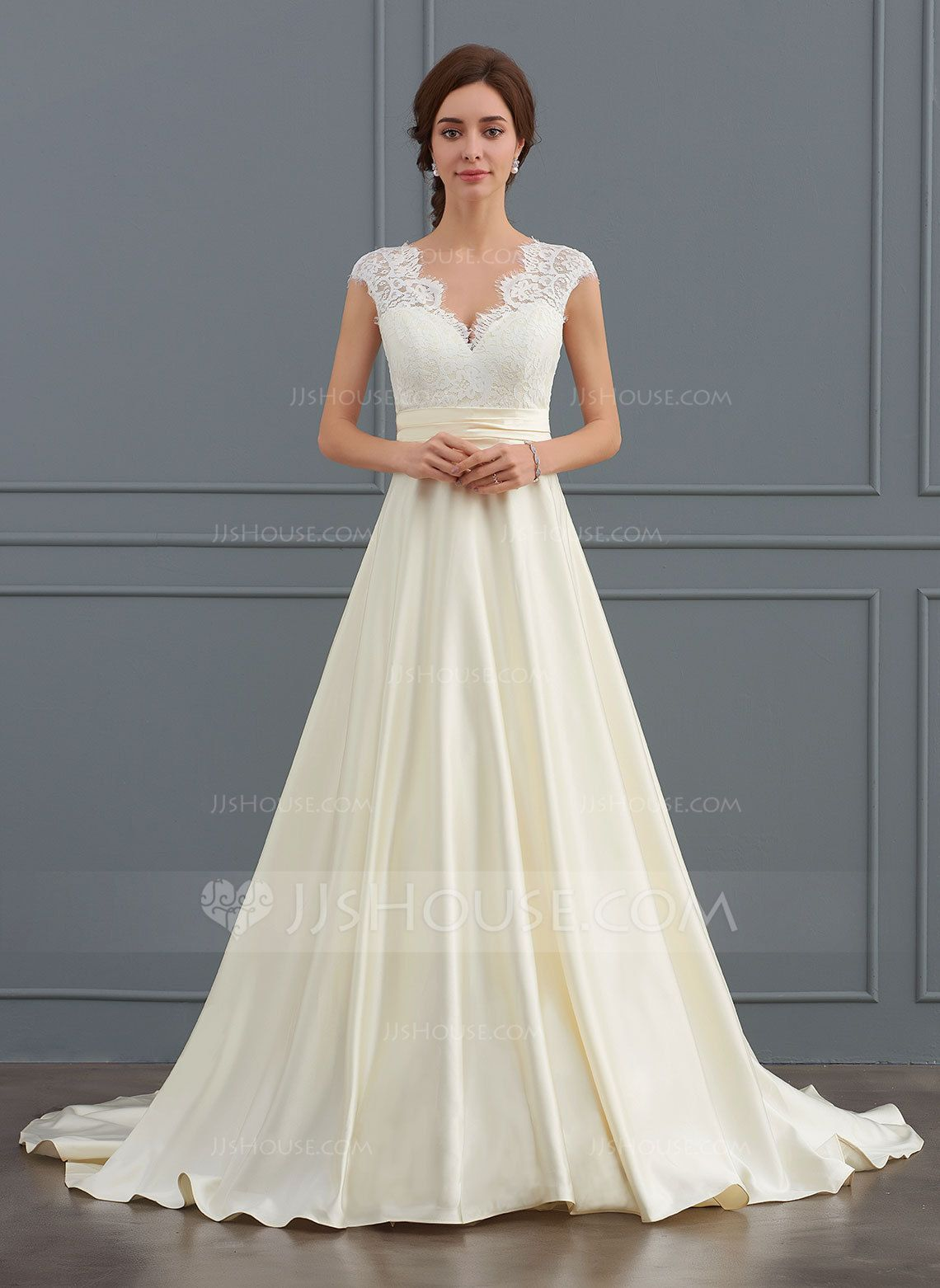 JJsHouse Ball-Gown V-neck Court Train Satin Wedding Dress With Ruffle