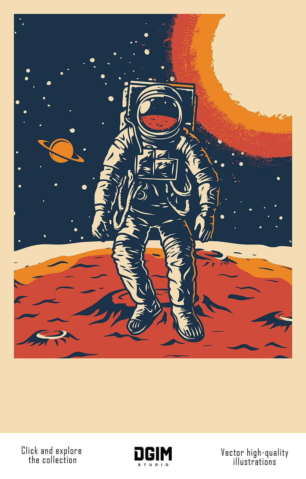 Vintage Space Emblems Set In 2020 Retro Space Posters Vintage Poster Design Retro Poster