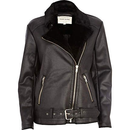Black shearling lined flight jacket - leather / leather look ...