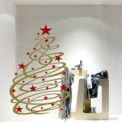 Elegante vinilo decorativo de rbol de navidad con - Decoracion navidena para comercios ...