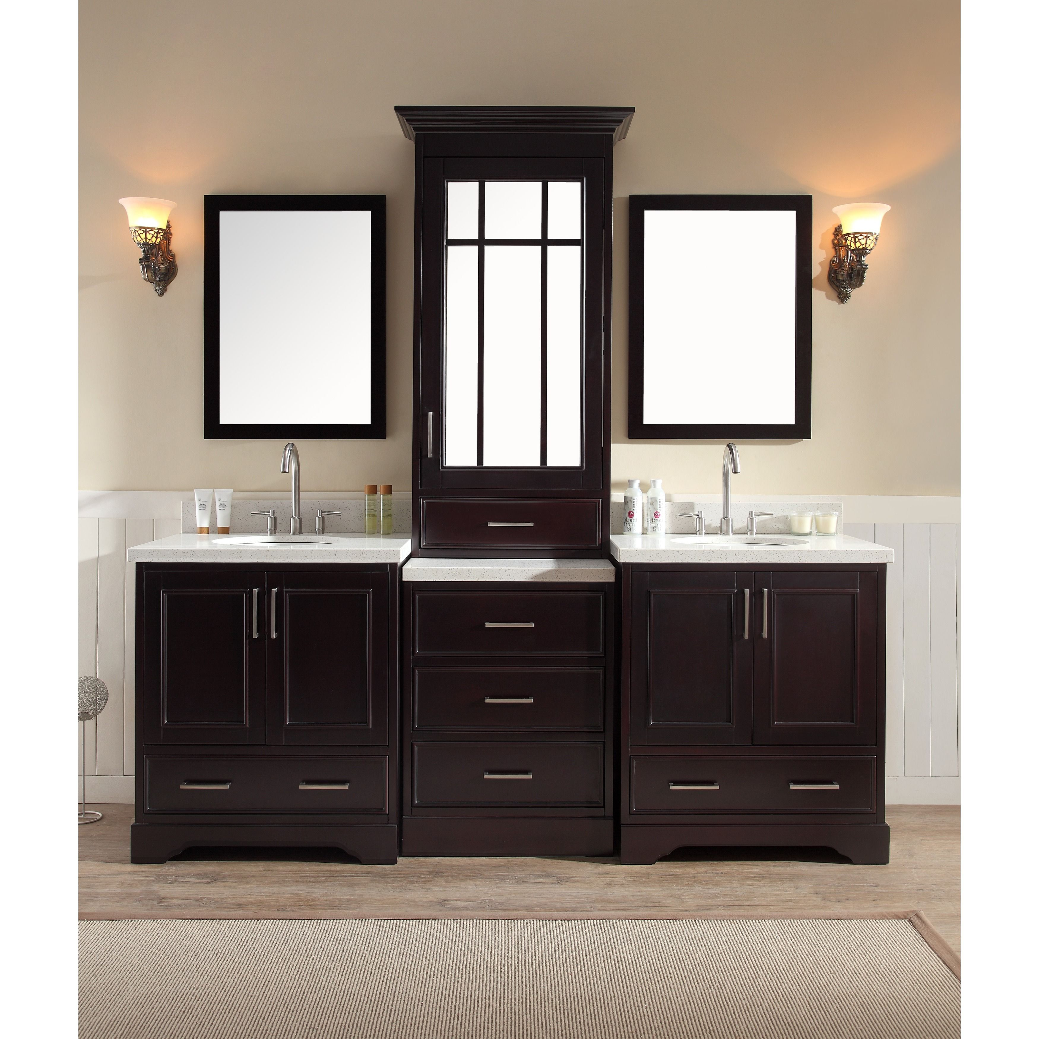 Ariel Stafford 85 Inch Double Sink Espresso Brown Vanity Set With Center Medicine Cabinet With Images Double Sink Vanity Double Sink Bathroom Double Sink Bathroom Vanity