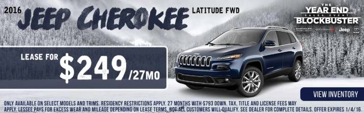 Year end blockbuster sales event! This month, lease a Cherokee - month to month lease