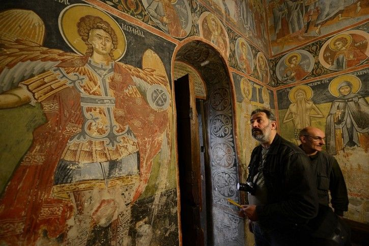 """Pustinja transalted as """"desert"""" is a 11th century monastery in Serbia. The frescoes are from 16th century. Neat! #monastery #serbianmonastery #pustinja #orthodoxmonastery"""