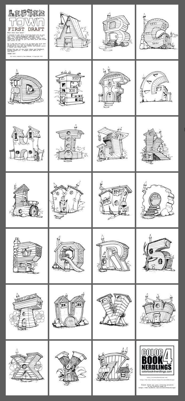 Abc 123 Fairy House Letters Alphabet Coloring Book Colorbook4nerdlings By Sean Mcmenemy Livre De Couleur Caligraphie Typographie