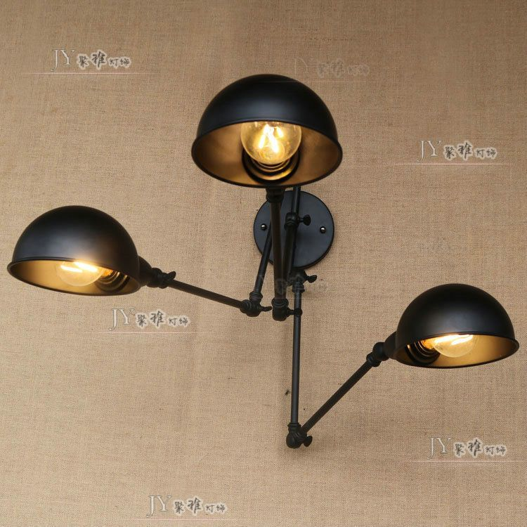 Industrial Loft Atelier Scissor Wall Sconce 3 Bulb Matte Black Finish Wall Light #JYIndustrialLights #Country