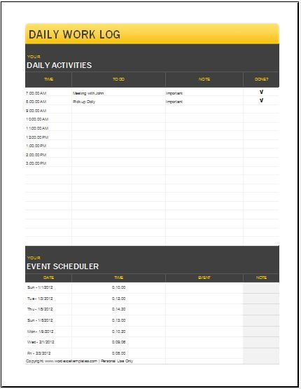 Daily Work Log Free Template 7 \u2013 buydeal