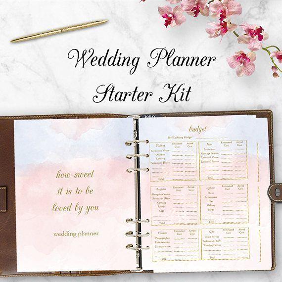 Wedding Planner Starter Kit Book Printable Planning Binder Printables Letter Size