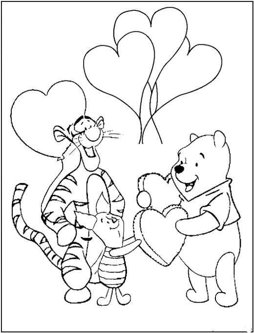 Pooh With Piglet And Tigre Valentine Coloring Pages For Kids Taken Valentines Day Coloring Page Valentine Coloring Pages Bear Coloring Pages