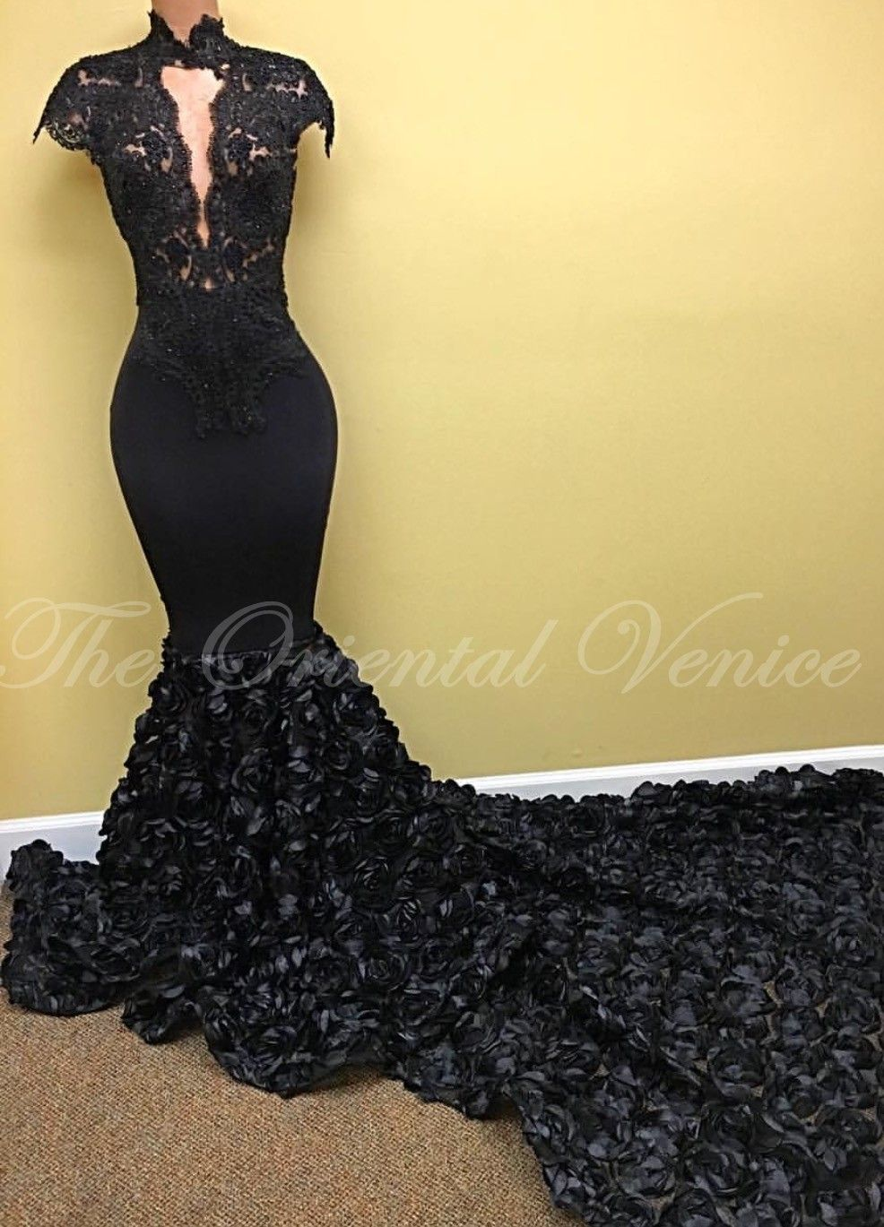 black lace mermaid prom dresses high neck deep plunging d