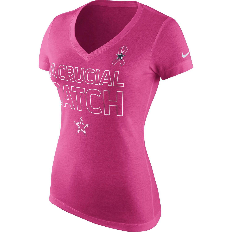 910555f919e04 Women's Dallas Cowboys Nike Pink Breast Cancer Awareness V-Neck Tri-Blend  T-Shirt