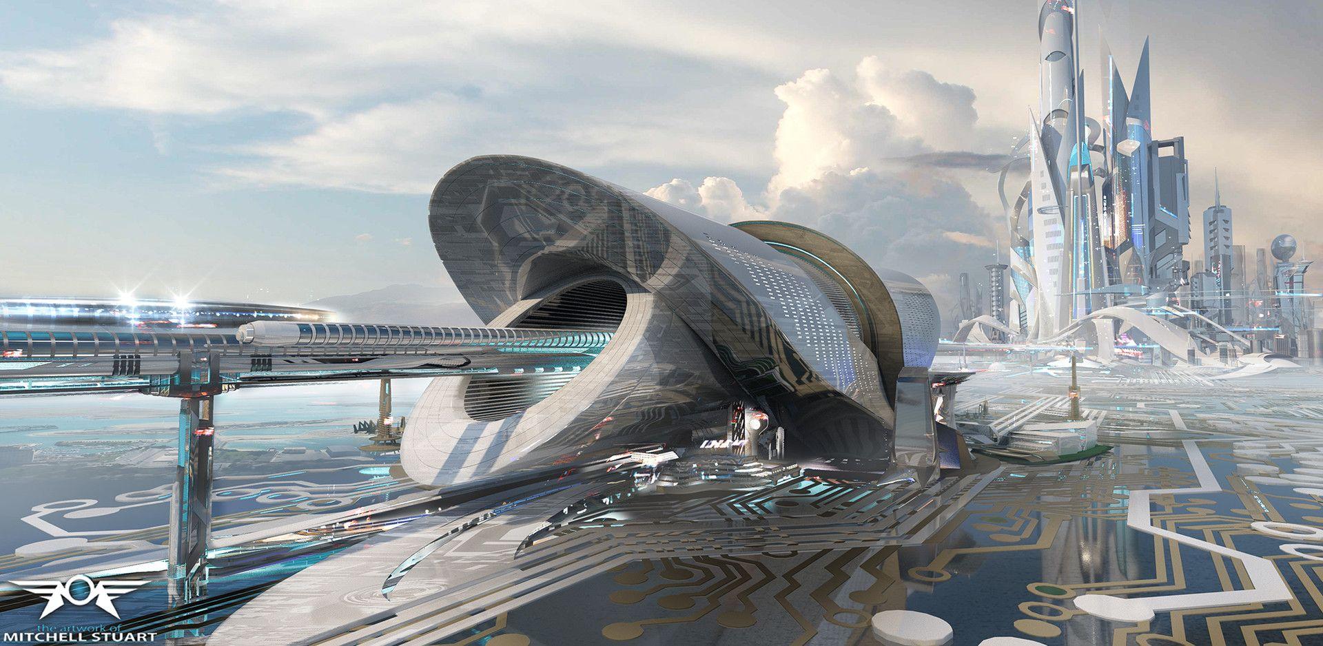 Artstation Utopia Hub Mitchell Stuart Futuristic Architecture Futuristic City Fantasy City