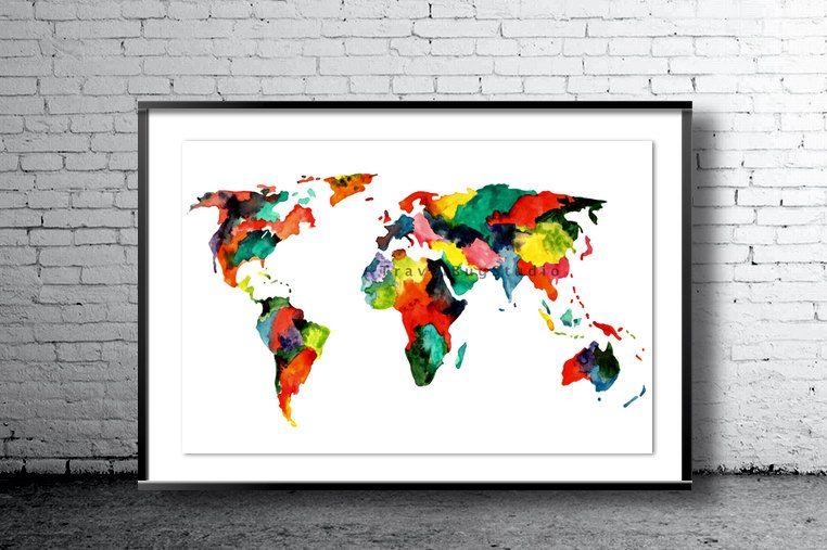 Multicolour map watercolor art print multicolour world map world world map painting map poster map wall art multicolor world map gumiabroncs Image collections