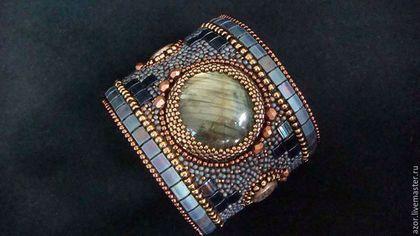 """Купить браслет """"Cara Mia """" - темно-синий, браслет, браслет на руку, Вышивка бисером"""